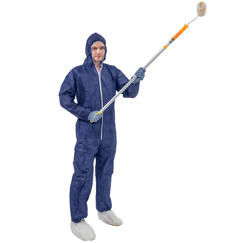 5 Pack Polypropylene PP Disposable Hooded Coveralls Light Duty Suit with Elastic Cuff Ankle and Waist (Large, Dark Blue) by Vicogard (Image #8)