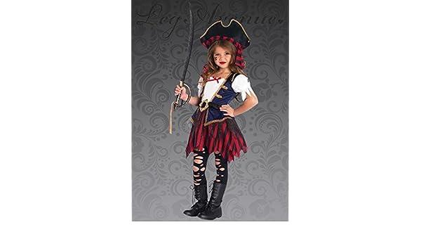 Magic Box Disfraz de niña Pirata caribeña Deluxe para niños XS (3 ...