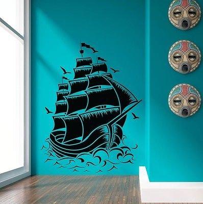 (Nautical Sail Boat Pirate Ship Wall Decal Sticker Room Decor Vinyl Wall Art)