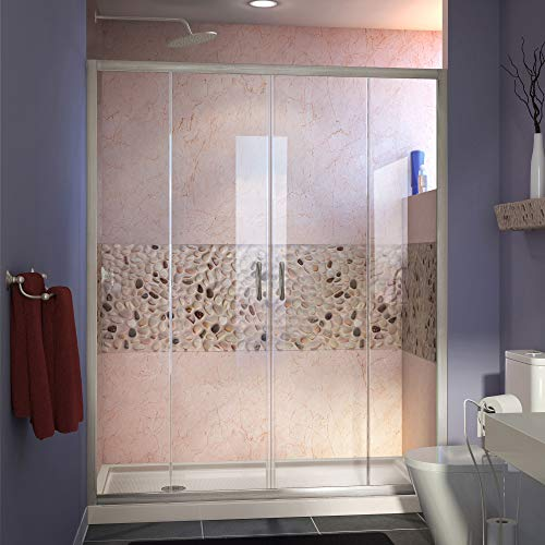 DreamLine Visions 36 in. D x 60 in. W Sliding Shower Door in Brushed Nickel with Left Drain Biscuit Acrylic Shower Base Kit, DL-6963L-22-04