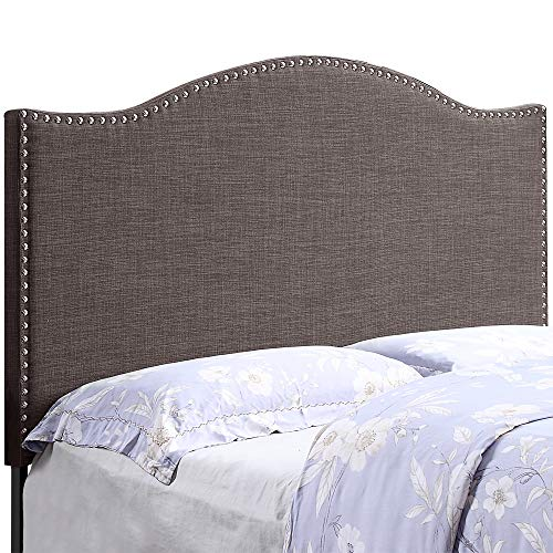 HOME BI Upholstered Curved Shape Linen Fabric Headboard Full/Queen Size with Nailhead Trim, Dark Grey