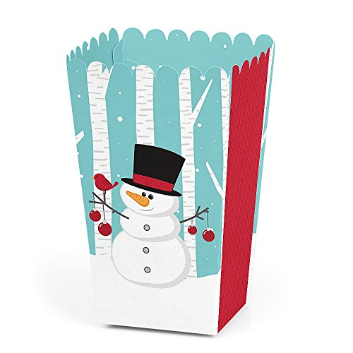 Let It Snow - Snowman - Holiday & Christmas Favor Popcorn Treat Boxes - Set of 12
