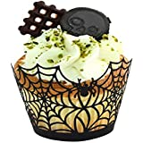 Since Pack of 60 Halloween Spiderweb/Witch/Castle Laser Cut Cupcake Wrappers Liners Party Decorations New Year Christmas decorations (Spiderweb)