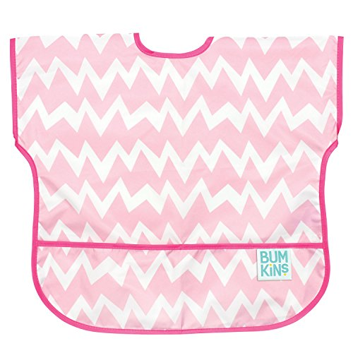Bumkins Waterproof Junior Bib, Pink Chevron (1-3 Years)