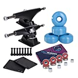 Cal 7 Skateboard Package Combo with 5 Inch / 129 Millimeter Trucks, 52mm 99A Wheels, Complete Set of Bearings and Steel Hardware (Black Truck + Baby Blue Wheels)