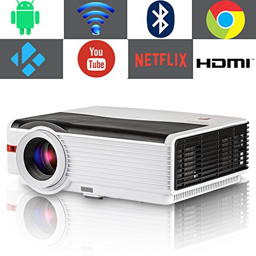 (Smart TV Projector Bluetooth Wireless, EUG 4200 Lumen LED Home Cinema Video Projectors with Android 6.0,Wi-Fi,HiFi Speaker,Max 200