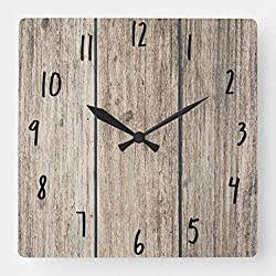TattyaKoushi 15 by 15-inch Wall Clock, Rustic Weathered Wood Farmhouse Barn Country Square Wall Clock, Living Room Clock, Home Decor Clock