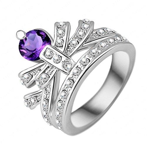 "RI06057C2-7 ""Crown"" Austrian Crystal 18K Ring"