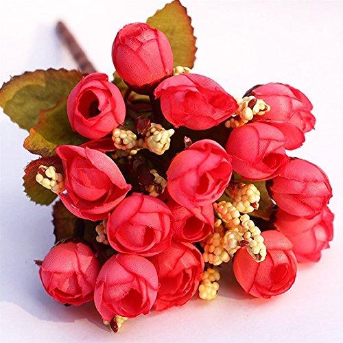Artificial & Dried Flowers - Silk Artificial Flowers 15 Head Mini Rose Home Decor Roses Flower Bouquet Decoration Fake - Lavendar White Magnolia Natural Resistant Black Indian Peony Long Min ()