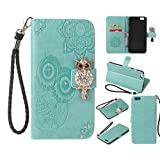 Glitter Diamond Wallet iPhone 6S Case,iPhone 6 Case,Ostop Green PU Leather Embossed Flower Luxury Stand Purse,3D Owl Bling Rhinestone Crystal Magnetic Closure Flip Cover,Credit Card Holder Shell