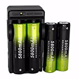Yuege 18650 Battery and Charger, 1-Pack Rechargeable 18650 Dual Smart Battery Charger with 4-Pack 5800mAh Li-ion 18650 3.7V Rechargeable Batteries, for Flashlight Headlmap Power Tools -  Yuege Tools
