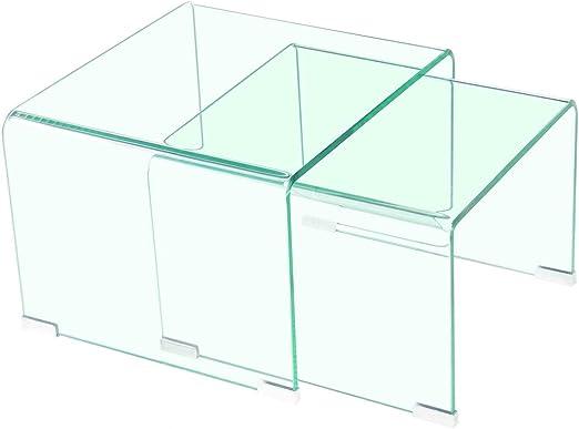 Meubletmoi 2 mesas Auxiliar de Cristal – Mesas Bajas de Cristal ...