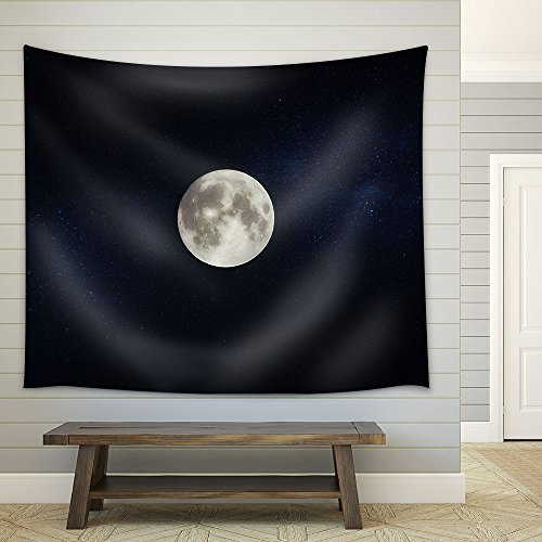 Full Moon on Dark Starry Sky Background Fabric Wall