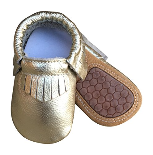 Lucky Love Baby Moccasins • Premium Leather • Infant, Baby & Toddler Shoes For Girls and Boys (12-18 Months | Size 5 US, Hard Sole Gold) (Girls Leather Shoes Toddler Kids)