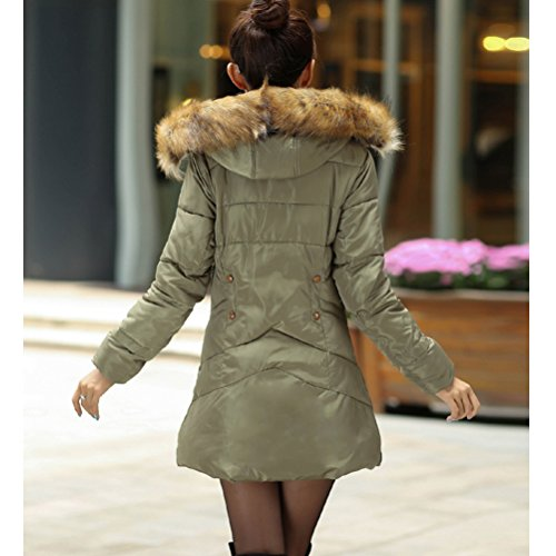 Hair Slim Zhuhaitf Down Mujer Korean Winter Jacket Coats para Warm Army Padded Long Green Collar Hooded Cotton amp; Bequem Feather 7vgq7wp