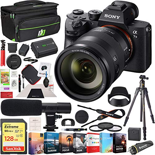 Sony ILCE-7M3 a7 III Full Frame Mirrorless Interchangeable Lens 4K HDR Camera Bundle with FE 24-105mm F4 G OSS Zoom Lens, Microphone, 128GB Card, Deco Gear Camera Bag with Accessories (13 Items) from Sony