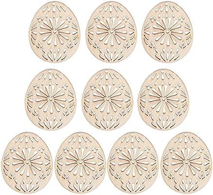 10Pcs Wooden EASTER EGG Flower Shape Hanging Decoration Craft Embellishment