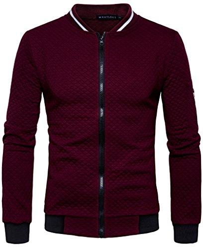 Zipper Sport Jacket - HOP FASHION Mens Casual Long Sleeve Baseball Collar Diamond Design Zipper Up Jacket Elastic Hem Lightweight Sport Cotton Coat With Pockets HOPM035-Burgundy-S