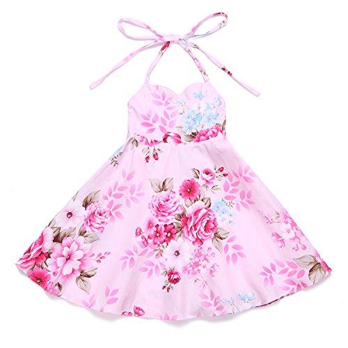 Vintage Pink Girls Dress Summer Party Toddler Dress (7, Pink) (Dress Girl Doll)