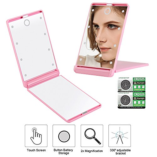 Travel Makeup Mirror with 8 Dimmable Led Lights,Compact Portable Touch Switch Mirrors,Fcebsty LED Lighted Pocket Mirror ,2 x (Touch Compact Mirrors)