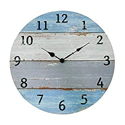 NIKKY HOME 16 Rustic Silent Noiseless Gradients Spliced Coastal Wood Round Wall Clock, Beach Blue and Gray