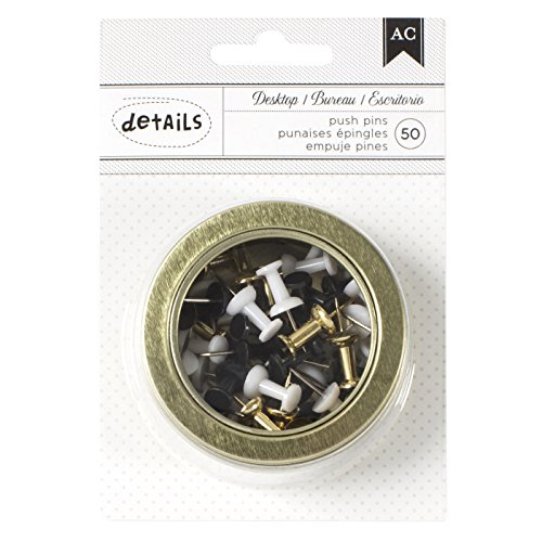American Crafts Office Tins 2.5 Inch Tin Push Pins Gold, Black, White 50 Piece 50 Piece Push Pins