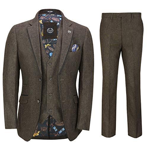 (Mens Brown Tweed Herringbone 3 Piece Suit Black Suede Trim Smart Tailored Fit[SUIT-X6058-1-BROWN-44])