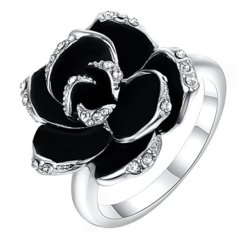 Stainless Steel Single Rose Cast Band Ring (Shaped Ring Rose)