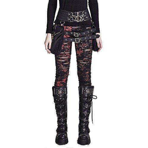 Punk Women Ripped Leggings Gothic Tattered Broken Close-fitting Mesh Leggings (M, Red)
