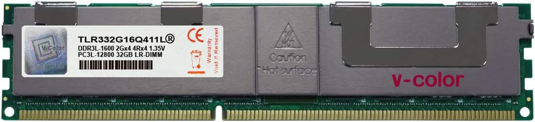 V-Color 32GB (1 x 32GB) Quad Rank Server Memory Ram Module Upgrade DDR3 1600MHz (PC3-12800) Load-Reduced DIMM with Heat Sink 1.35V CL11 4Rx4 (TLR332G16Q411L)