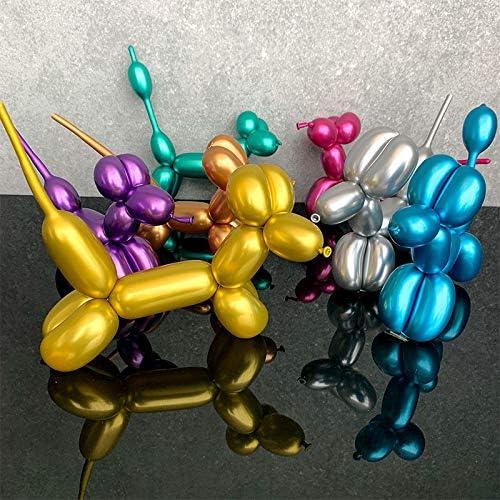 Color Mixto Globos Met/álicos Largos 100 Piezas Q260 Globos Retorcidos de Animales Globos M/ágicos Largos de L/átex de Cromo con Bomba