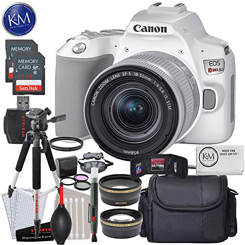 Canon EOS Rebel SL3 DSLR Camera with 18-55mm Lens (White) with Deluxe Striker Bundle