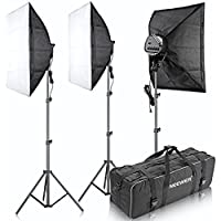 Neewer 3000W 5500K 20x28-Inch/50x70-cm Five Socket Softbox Compact Fluorescent Photo Video Studio Lighting Kit with Carrying Case