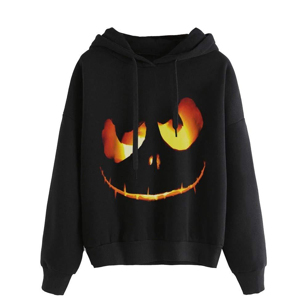 Maonet Women's Halloween Pumpkin Devil Sweatshirt Pullover Tops Hoodie Shirt Plus Size (XL, Black)