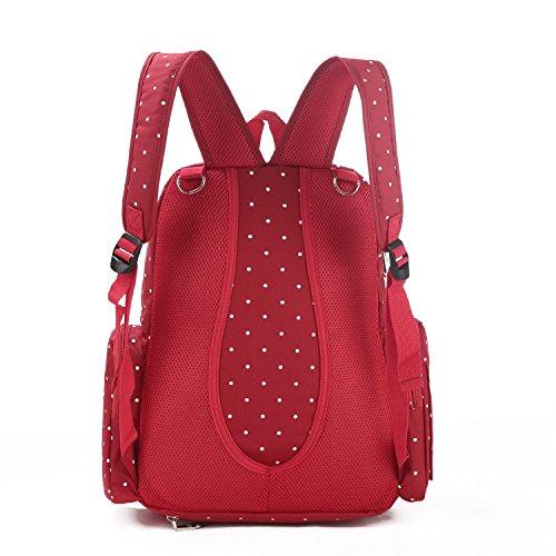 S-ZONE 16 bolsillos beb¨¦ pa?al bolsa organizador resistente al agua Oxford tela viaje mochila con almohadillas cambiantes y correas de cochecito Rojo