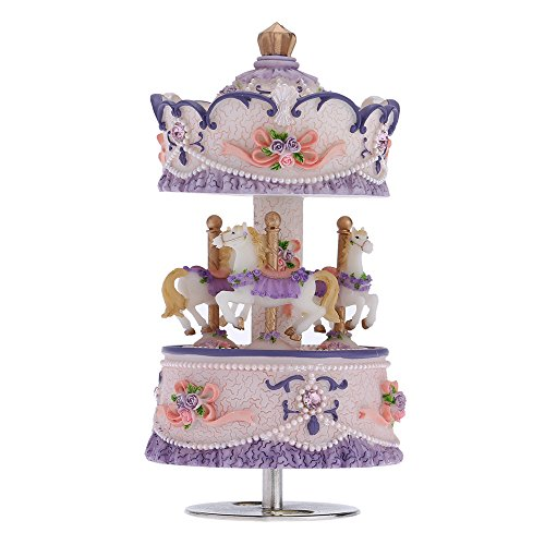 Andoer Laxury Windup 3-horse Carousel Music Box Creative Artware/Gift Melody Castle in the Sky Pink/Purple/Blue/Gold Shade for Option (Purple Carousel)