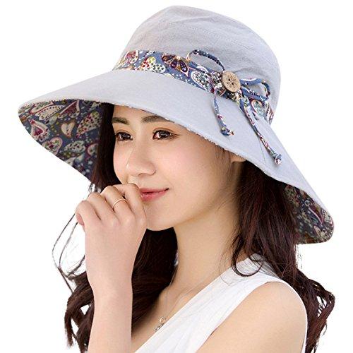 Womens Sun Hat Hindawi Summer Reversible UPF 50+ Beach Hat Foldable Wide Brim Cap, Grey
