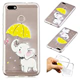 Creative Case for Huawei P8 Lite 2017,Transparent Soft Clear TPU Cover for Huawei P8 Lite 2017,Leecase Umbrella Elephant Cute Pattern Flexible Protective Case Cover for Huawei P8 Lite 2017