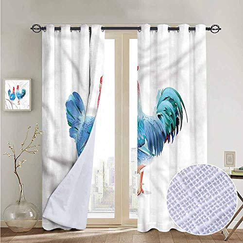 NUOMANAN Kitchen Curtains Chicken,Blue Rooster Domestic Bird,Rod Pocket Drapes Thermal Insulated Panels Home décor 54