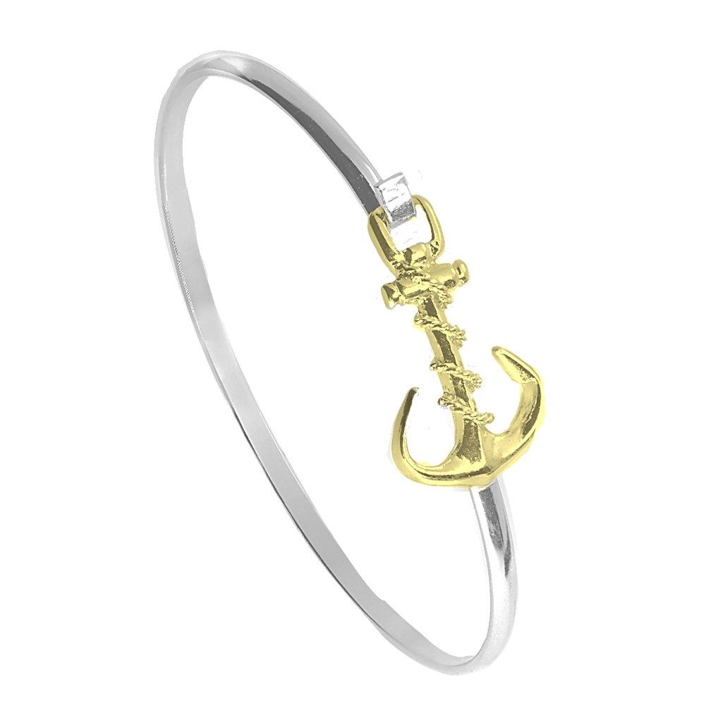Anchor Bracelet Latch Cuff TwoTone by Cape Cod Jewelry-CCJ