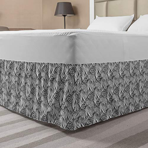 Ambesonne Feather Bed Skirt, Repetitive Hand Drawn Angelic Wings Ornaments Monochrome Illustration, Elastic Bedskirt Dust Ruffle Wrap Around for Bedding Decor, Queen, White and Charcoal Grey