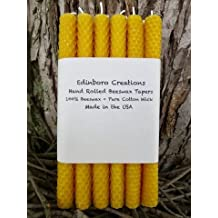 "Edinboro Creations - Set of a Dozen - 8"" Hand Rolled Beeswax Tapers, Honeycomb Beeswax - Pure Natural Beeswax - Free 3 Day Shipping"