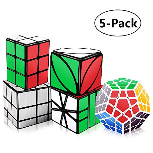 Tresbro Speed Cube Set, 2x2x3 Cube, Smooth Mirror Cube, Ivy Cube, SQ-1 Cube, Qiyi Magic Cube Bundle - Puzzle Toys for Kids Adults ()