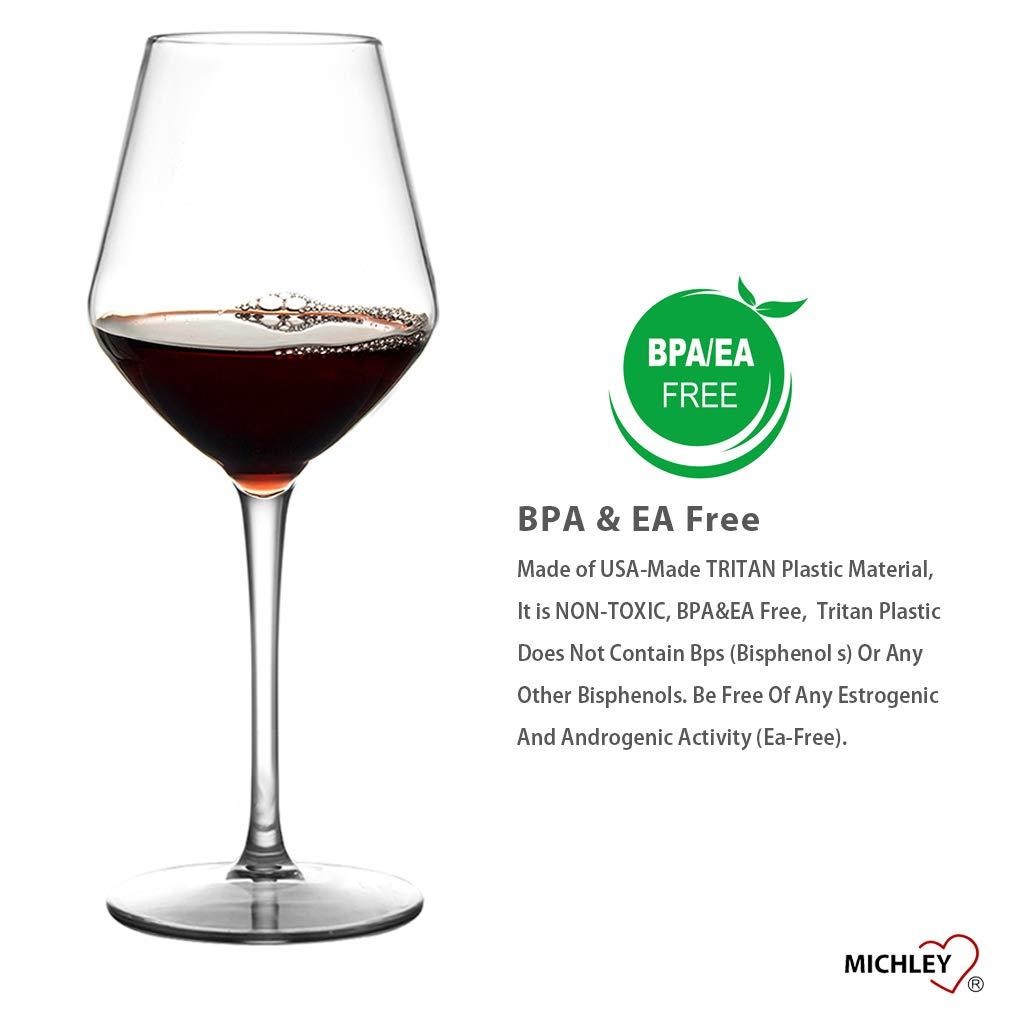 MICHLEY Unbreakable Stemmed Wine Glass 100% Tritan Plastic Dishwasher safe  Glassware 15 oz, Set of 2