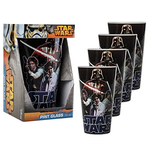 Original Star Wars Characters (Star Wars Set of 4 16oz Cup Glasses Original Series Characters Beer Pint Tumblers, Black)