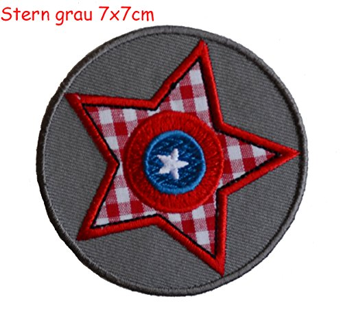 2 iron-on appliques set - Grey Star 7X7Cm and Tractor 7X7Cm embroidered application set by TrickyBoo Design Zurich Switzerland