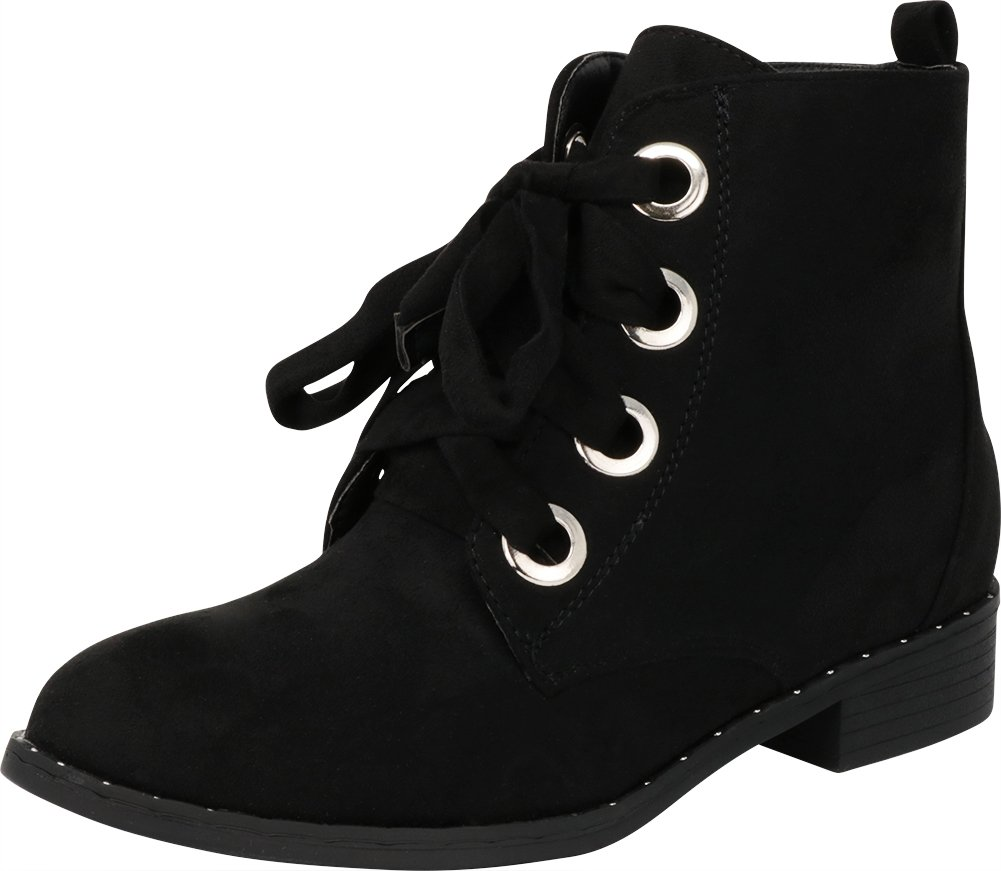 Cambridge Select Women's Closed Round Toe Large Eyelet Lace-up Low Stacked Heel Ankle Bootie,9 B(M) US,Black IMSU by Cambridge Select