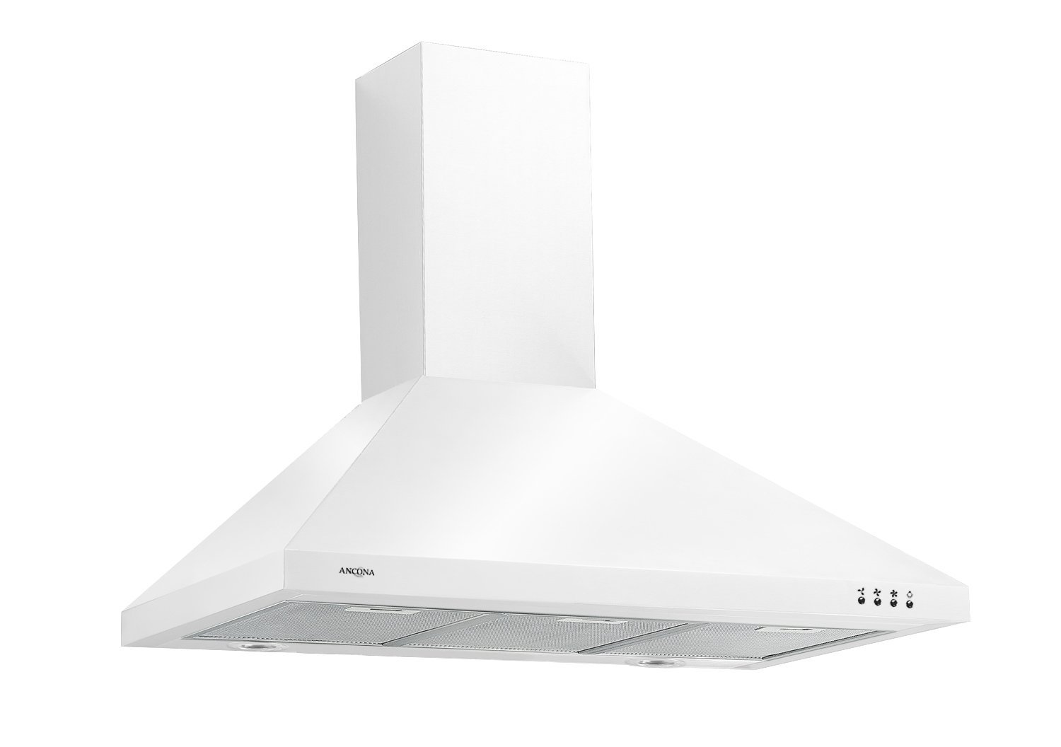 Ancona WPPW436 Wall-Mounted Classic Pyramid Style Convertible Range Hood, 36-Inch, White