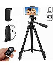 Everesta 42 Inch Aluminum Alloy Tripod with Holder Mount and Bluetooth Wireless Remote Shutter for Camera and iphone Samsung and Other Brands Smartphones(Black)