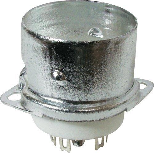 Vacuum Tube Socket, 9 Pin/Miniature, Ceramic, Top Chassis Mount, w/Shield Base
